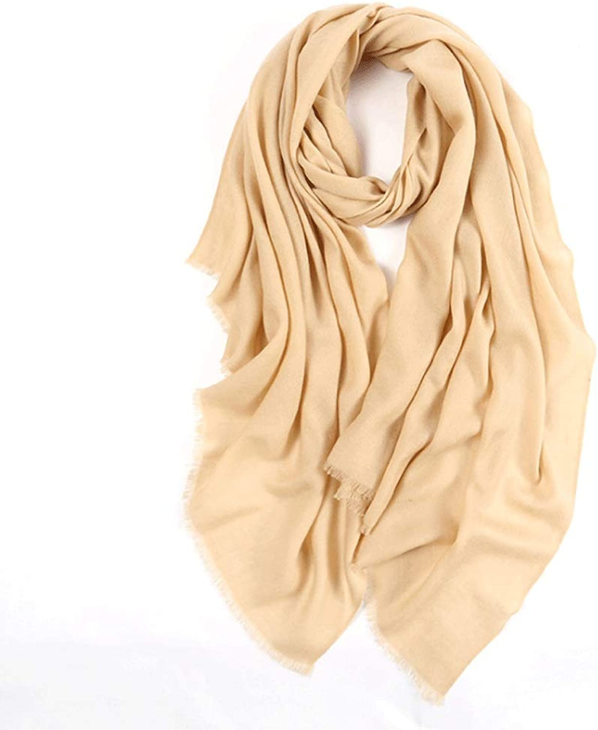 CHX Scarf Pure Wool Solid color Shawl Printing Process Winter Warm Long Scarf V (color   Apricot)