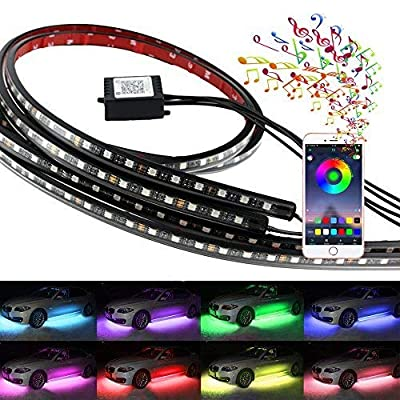 Undercar Light,Underglow led light kit, 4Pcs Car High Intensity Neon light Atmosphere Decorative Lights Strip,Underbody System Waterproof Tube RGB 8 Color with Sound Active and Wireless APP Control