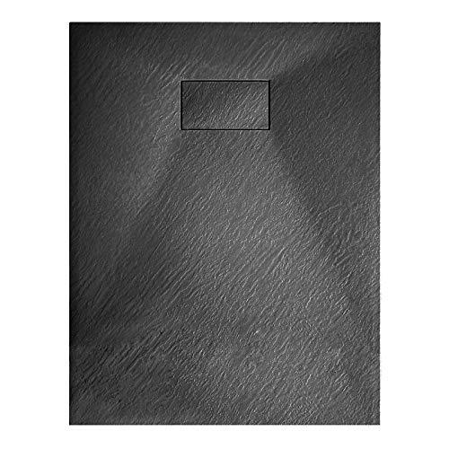 Antraciet douchebak uit de GT-serie in SMS - selecteerbare breedte en accessoires, Stop- en evacuatiesysteem:Zonder afvalset, Afmeting douchebak:90x140cm