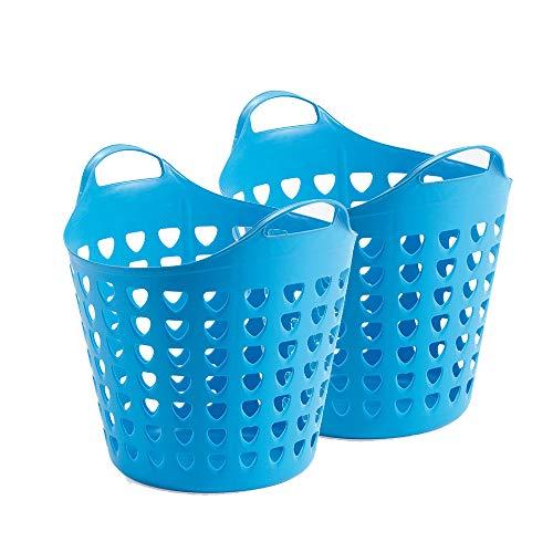 2er Flexibler Aufbewahrungskorb für Spielzeug, Wäsche, u.v.m. in Pink/Blau mit Belüftungslöchern. 35 Liter Volumen, mit zwei großen Henkeln. Topp (Blau)