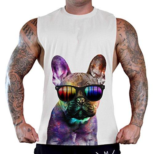 Men's Galaxy Rave French Bulldog Head Tee B675 PLY White T-Shirt Tank Top Large