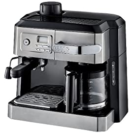 "De'Longhi BCO330T and Espresso Machine, 24"" x 14"" x 14"", Black/Stainless Steel 7 Patented Flavor Savor Brewing System.24 hour digital programmable timer.Pause and serve function allows you to enjoy a cup before the full pot is brewed. Swivel Jet frother mixes steam, air and milk producing a rich, creamy froth for great cappuccinos Durable and long lasting permanent gold tone filter is specially designed to keep even the finest grounds out of coffee"