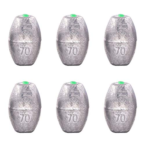Swpeet 6Pcs 70g Egg Olive Shape Sinkers Fishing Sinkers Worm Sinker Fishing Weights Bass Casting Bullet Weight for Fishing, Freshwater Saltwater Fishing Gear