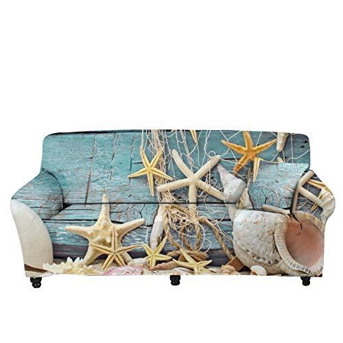 chaqlin Protector de sofá de playa con diseño de estrella de mar para 4 plazas, resistente a las manchas, funda para sofá con correas elásticas a prueba de derrames para mascotas, niños, gatos, sofá