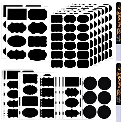 GOLDGE 290Pcs Etichette di Lavagna con 2Pcs Marcatore di Gesso Bianco, Adesivo Lavagna Riutilizzabili Impermeabili, Rimovibili Adesivi per Barattoli, Scatole, Bottiglie, Contenitori