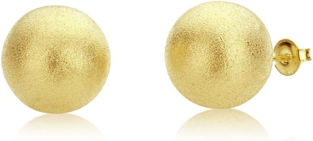 18K Gold Overlay Matte Finish Round Ball Earrings