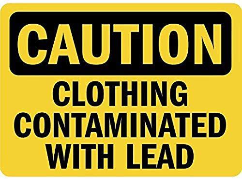 Precaución Ropa Caminada con plomo Cartel de pared de estaño Señal de advertencia Placa de hierro de metal retro Pintura Arte Decoración para el hogar Pub Oficina 30x20cm