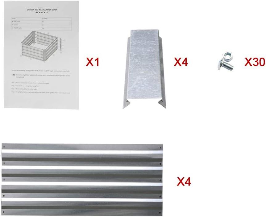 3.3 x 3.3 x 1.3 Ft, Green Galvanized Steel Raised Garden Bed Kit ...