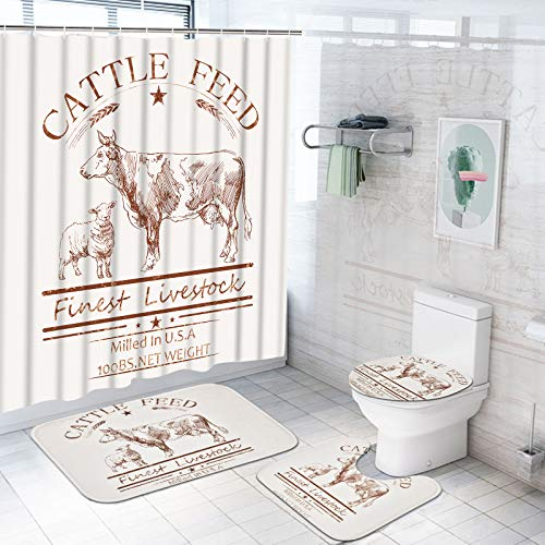 TAMOC 4 Pcs Farmhouse Cow Shower Curtain Set with Non-Slip Rug, Toilet Lid Cover and Bath Mat, Cattle Feed Shower Curtain with 12 Hooks, Livestock Farm Animal Bathroom Curtain, Beige