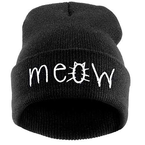 Beurio Slouchy Beanie Winter Knit Skull Mütze für Damen Herren mit Meow - Schwarz - Einheitsgröße