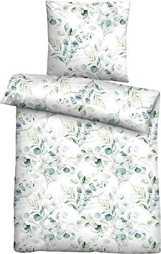 biberna 0024280 Juego de Cama con Fundas de Almohada Seersucker de algodón Suave, verde pistacho, 1x 155x200 cm + 1x 80x80 cm