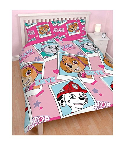 Paw Patrol Official Children's Pink Stars Reversible Double Duvet Cover and Pillow Case Set