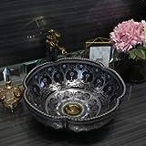 China forma de flor cerámica encima del contador baño recipiente lavabo...
