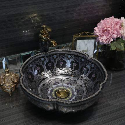 China forma de flor cerámica encima del contador baño recipiente lavabo lavabo,...