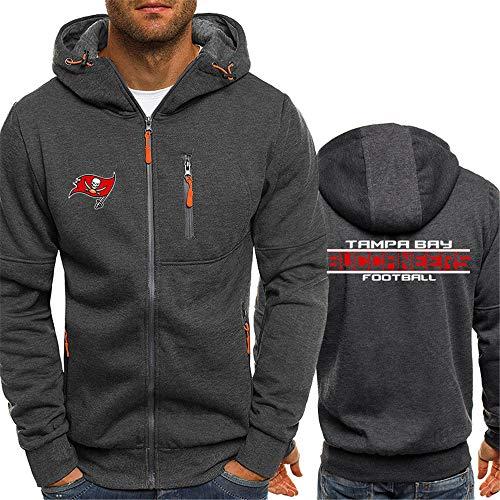 LAIDAN NFL Fans Sweatshirt Hoodie Tampa Bay Buccaneers American Football Zipper Jacket Bequeme Und Atmungsaktive Fußball Kleidung Trainingsanzug Sports Langarm Jerseyhoodie,XXL