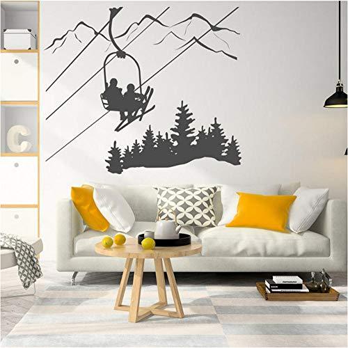 Hjtktt Decalcomanie Da Muro Per Sci Adesivi Montagna Adesivi Invernali Adesivi Murali In Vinile Decorazione Domestica 104 * 88Cm