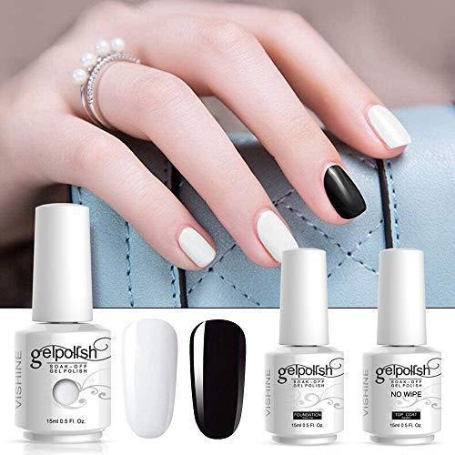 Vishine 4pcs Black White Gel Nail Polish Color Collection Base Top Coat Soak off UV LED Gel Color Set Nail Lacquers Manicure Nail Art Kit for Halloween 15ml