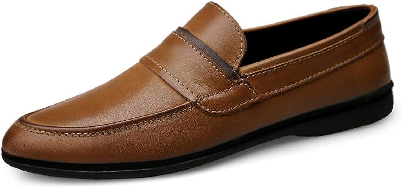 Oxford-Schuhe Strapazierfhiges, lssiges Business-Oxford für Herren, das Penny Loafer Slip on Antisilp Lightweight-Stiefelschuhe aus echtem Leder fhrt Langlebige Mode ( Farbe   Khaki , Gre   45 EU )