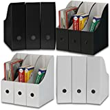 Simple Houseware White/Black Magazine File Holder Organizer Box (Pack of 12)