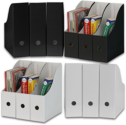 Simple Houseware White/Black Magazine File Holder Organizer Box (Pack of 12)
