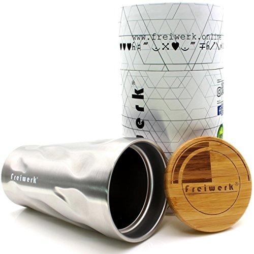 freiwerk® Thermo Tumbler Reise Becher Tasse Flasche Edelstahl Doppelwandig Bambus Deckel Kaffeebecher To Go Camping Reise Sport Freizeit 400ml