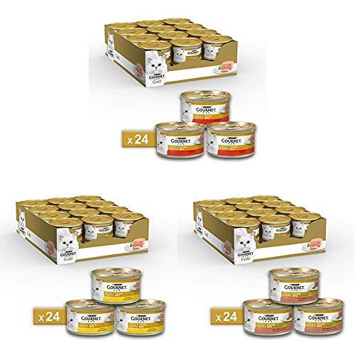 Purina Gourmet Gold Umido Gatto Mousse, 3 gusti diversi di carne: 72 lattine da 85 g