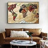 sanjiiNG Weltkarte der Lebensmittel Wand Poster Moderne Vollkornprodukte Pop Art Leinwanddrucke Weltkarte Bild für Küche Wohnzimmer Bild Decor 60X80 Cm