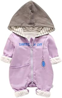 Fairy-Baby Infant Boys Autumn Romper One-Piece Bodysuit with Adorable Cartoon Pritning Design Kids Casual Playwear Daily Outfit (Color : Purple, Size : 80)