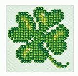 Pracht Creatives Hobby DDS-011 - Diamond Dotz Kleeblatt, funkelndes Diamantbild zum Selbstgestalten, ca. 7,6 x 7,6 cm groß, Malen mit Diamanten, ideal für Anfänger
