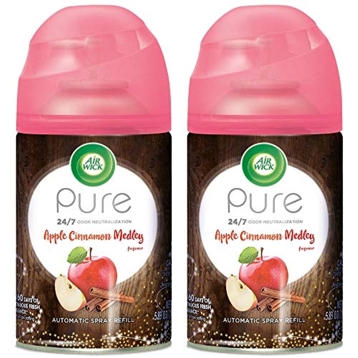 Air Wick Pure Freshmatic 2 Refills Automatic Spray, Apple Cinnamon Medley, (2x5.89oz), Air Freshener, Essential Oil, Odor Neutralization, Packaging May Vary