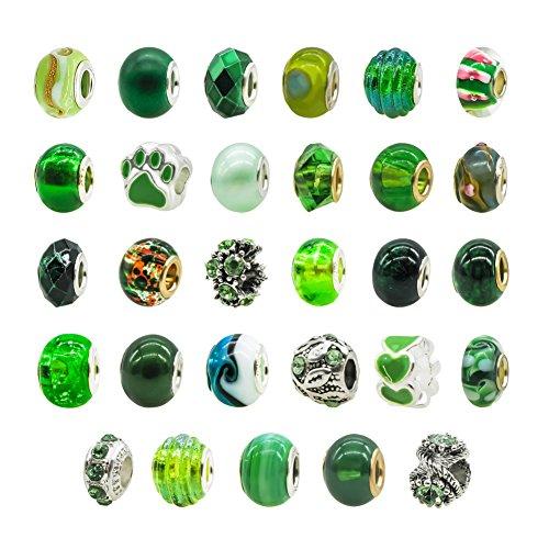 TOAOB 10 Piezas Verde 14 mm Abalorios Europeos de Plata Antigua Tibetana...