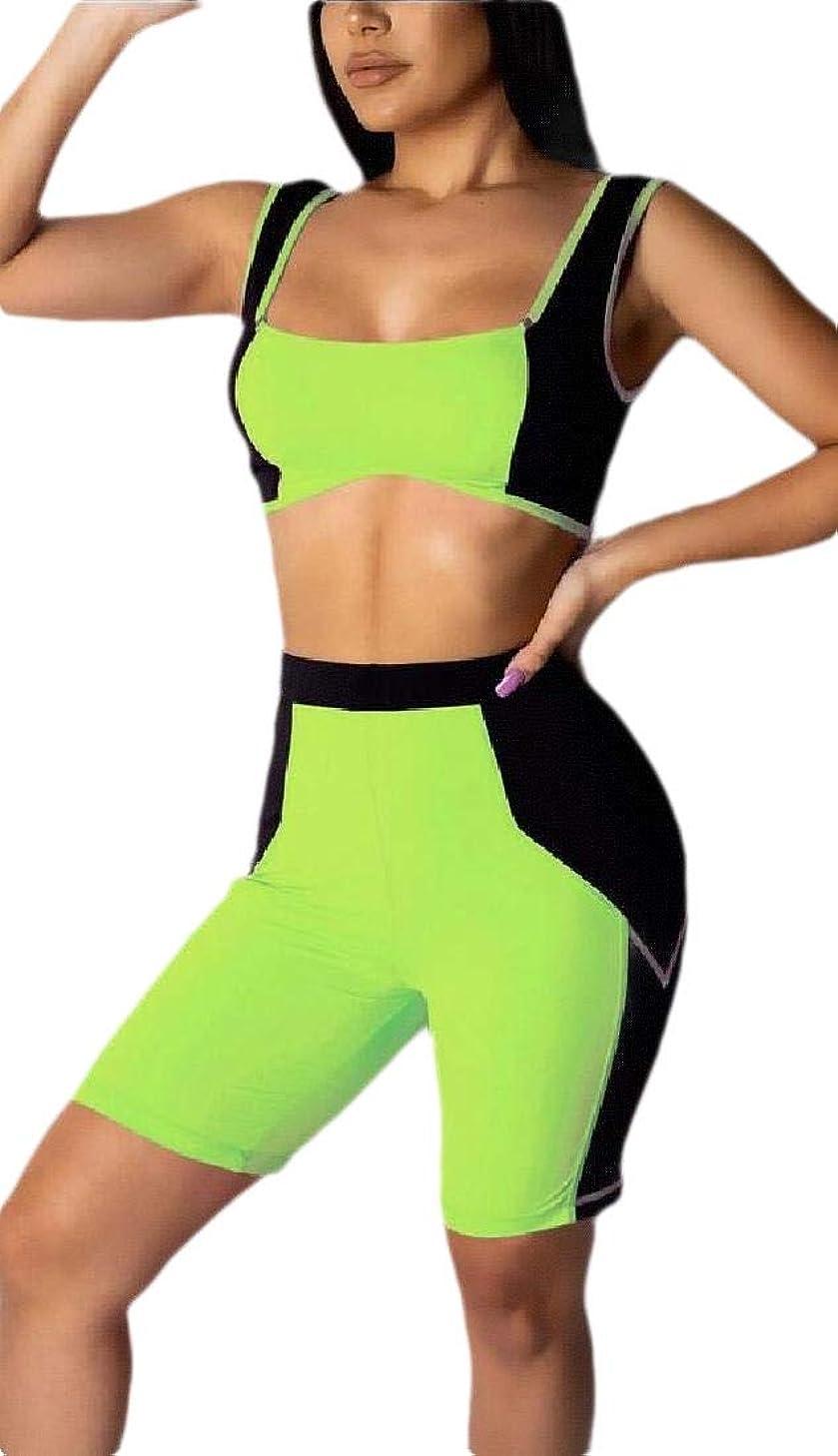 学部長骨の折れる十分Womens 2 Piece Set Sleeveless Tank Top and Color Block High Waist Bodycon Shorts Outfits