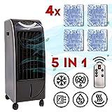 ZINNZ SELECTED Mobile Klimaanlage, Luftkühler Klimaanlage, 5 in 1 Luftbefeuchtung Ventilator, Air Cooler, 6L Mobile Klimagerät, Heizfunktion, 3 Geschwindigkeitsstufen, Aircooler Klima (Schwarz/Grau)