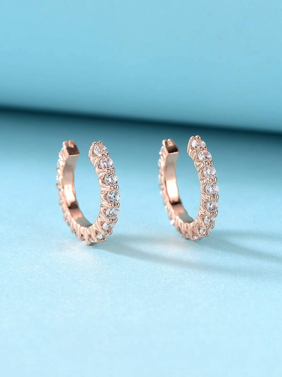 ZHCHL Hoop Earrings Rhinestone Decor Ear Cuff (Color : Rose Gold)