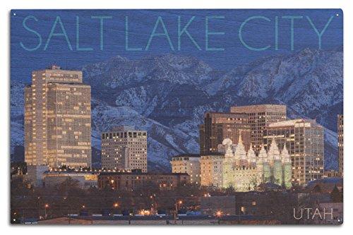 Lantern Press Salt Lake City, Utah - Wasatch Mountains and Downtown (10x15 Wood Wall Sign, Wall Decor Ready to Hang)