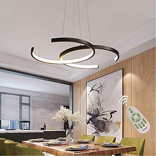 LOVE-HOME hanglamp zonder schaal dimbaar eenvoudige acryl lamp voor woonkamer keuken badkamer hal moderne plafondlamp [energieklasse A] zwart 55 cm