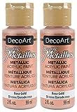 2-Pack - DecoArt Dazzling Metallics Acrylic Colors - Rose Gold, 2-Ounces Each