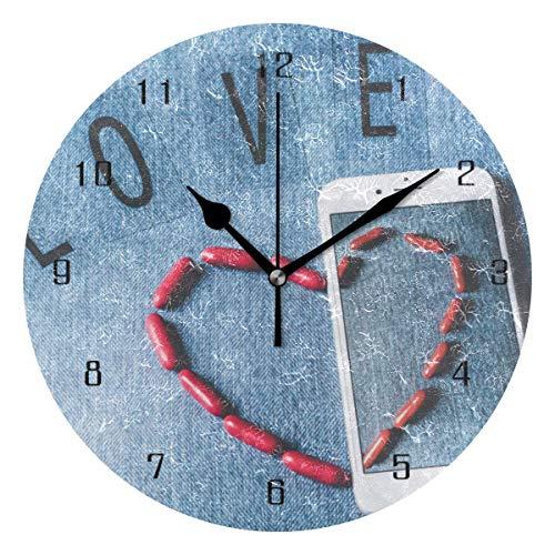 Xukmefat Wohnkultur Liebe Herz Romantik Valentine Romantik Symbol Runde Stil MWall Clock, Silent...