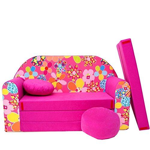 H12 + Canapé d'enfant enfants Bébés Mini Canapé bébé Canapé lit Pouf Lot de 3 en 1 d'oreillers en mousse