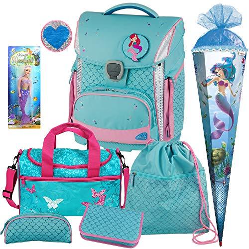 Shells - Meerjungfrau Mermaid - TOOLBAG Plus mit LED-LEUCHTSYSTEM und PATCHIE mit Wendepailetten - Schulranzen-Set 7tlg. mit Sporttasche und SCHULTÜTE - Meerjungfrauen-Puppe GRATIS DAZU!