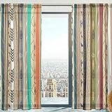 Mnsruu Cortinas transparentes para ventana, diseño étnico de tul suave, cortinas de gasa para sala de estar dormitorio 140 x 198 cm, 2 paneles