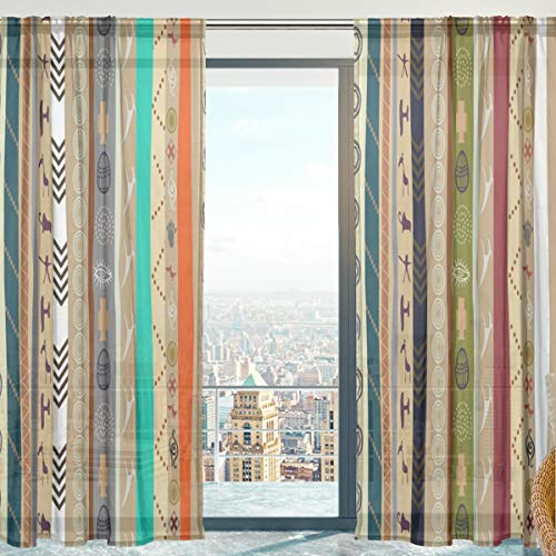 Mnsruu Cortinas transparentes para ventana, diseño étnico, de tul suave, para sala de estar, dormitorio, 140 x 198 cm, 2 paneles