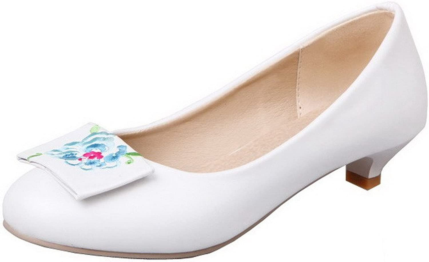 WeenFashion Women's Low-Heels PU Embroidered Pull-On Round-Toe Pumps-shoes
