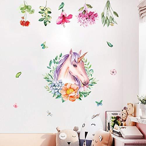 Dibujo Unicornio Arcoiris Guirnalda Pegatinas De Pared , Para Habitación De Los Niños , Jardín Jardín De Infantes Fiesta Decoración Fondo Pared Cartel