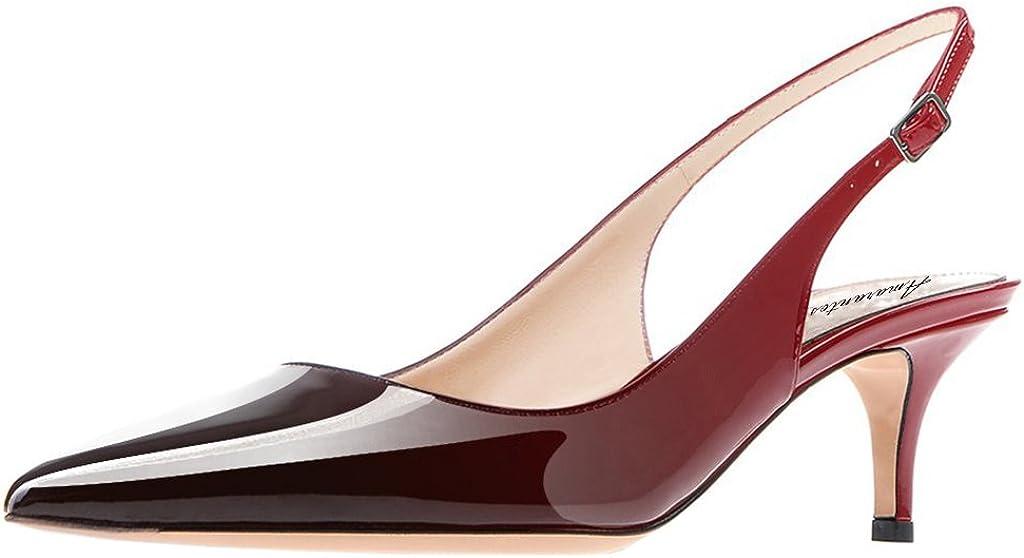 Amarantos Women's Patent Leather Discount is also underway Pointed Heel Kitten Toe OFFicial shop Elegant