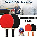 Formación de Estudiantes Tabla raqueta de tenis Set, Juegos de ping-pong portátiles con 2 murciélagos y 3 bolas en bolsa de transporte, todos los días de entrenamiento en casa para ocio Deportes