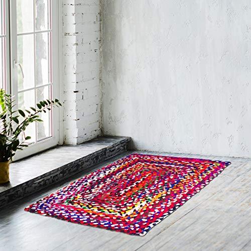 Naqsh Alfombra de algodón de diseño rectangular tejida a mano, multicolor, de algodón reciclado, reversible, trenzado, de 2 x 3 pies.
