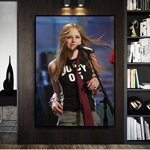 BGFDV Canto y composición Canadiense Cantante Femenina Cantante de Pop Rock Avril Lavigne póster HD impresión en Lienzo decoración de la Pared del hogar Arte Mural niña decoración del Dormitorio