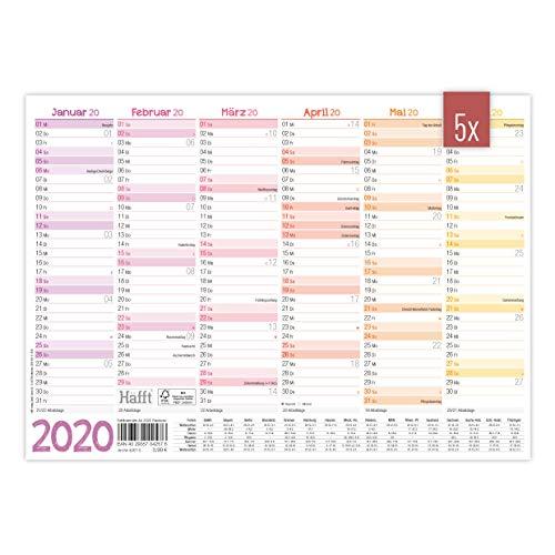 5 x Premium Tafelkelander 2020 A4 quer [Rainbow] - Jahresplaner, Wandkalender, Jahreskalender inkl. kleine Übersicht Folgejahr, Feiertage & Ferienübersicht