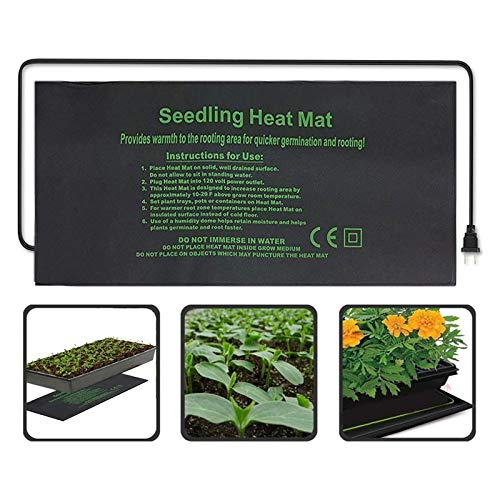 HSD Estera calefactora para invernadero, para plántulas, cojín de calefacción para plantas, con protección contra apagado, seguro y duradero, acelera la germinación de la planta, 50 x 50 cm